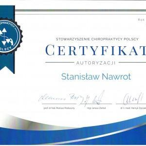 Certyfikat od Stowarzyszenia Chiropraktycy Polscy dla Stanisława Nawrota