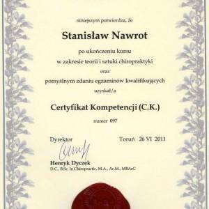 Certyfikat Stanisława Nawrota od Akademii Chiropraktyki 1